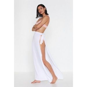 Nasty Gal Maxi Wrap Cover-Up White Cream Sarong